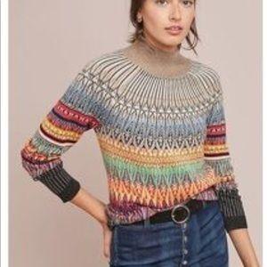 Anthropology Mauve Prismatic Fair Isle Sweater